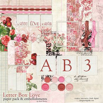 Letter Box Love Kit Digital Art - Digital Scrapbooking Kits