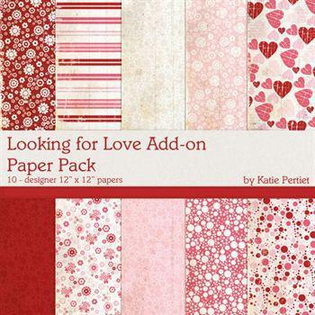 Looking For Love Add-on Paper Pack Digital Art - Digital Scrapbooking Kits