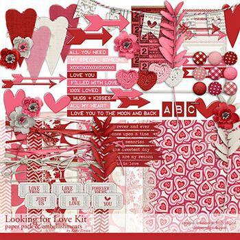 Looking For Love Kit Digital Art - Digital Scrapbooking Kits