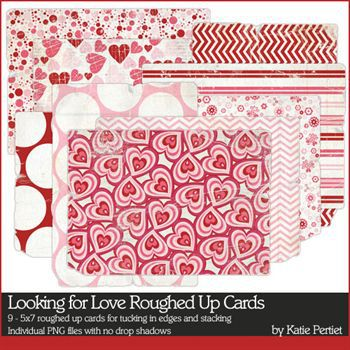 Looking For Love Roughed Up Cards Digital Art - Digital Scrapbooking Kits