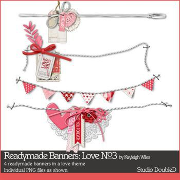 Readymade Banners Love No3 Digital Art - Digital Scrapbooking Kits