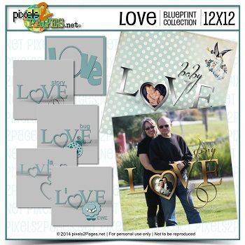 12x12 Love Blueprint Collection Digital Art - Digital Scrapbooking Kits