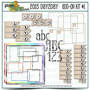 2015 Day2day Add-on Kit #1 Digital Art - Digital Scrapbooking Kits