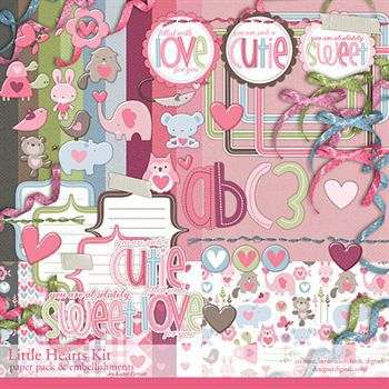 Little Hearts Kit Digital Art - Digital Scrapbooking Kits