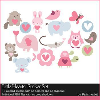 Little Hearts Stickers Digital Art - Digital Scrapbooking Kits