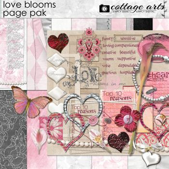Love Blooms Page Pak Digital Art - Digital Scrapbooking Kits