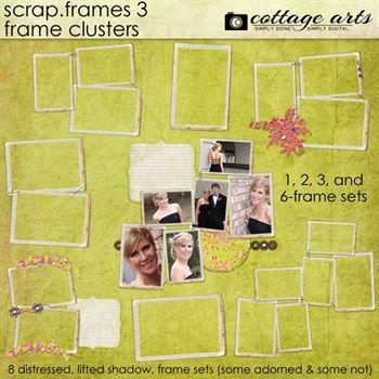 Scrap.frames 3 Frame Clusters Digital Art - Digital Scrapbooking Kits