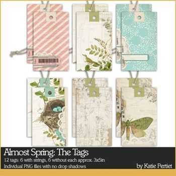 Almost Spring Tags Digital Art - Digital Scrapbooking Kits