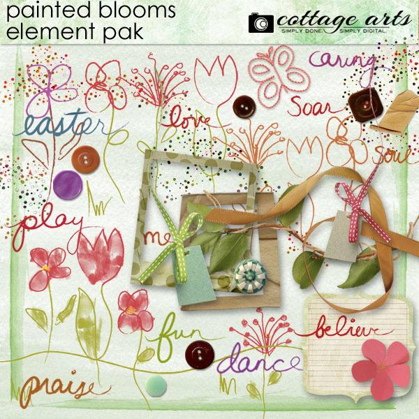 Painted Blooms Element Pak Digital Art - Digital Scrapbooking Kits