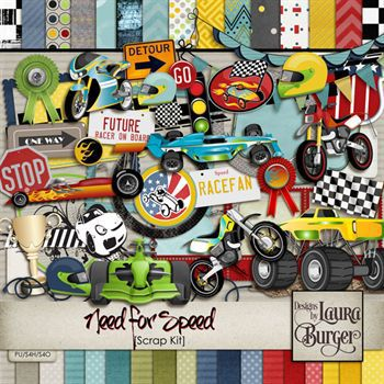Need For Speed Scrap Kit Digital Art - Digital Scrapbooking Kits