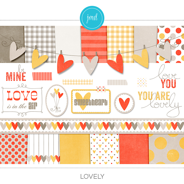 Lovely Kit Digital Art - Digital Scrapbooking Kits