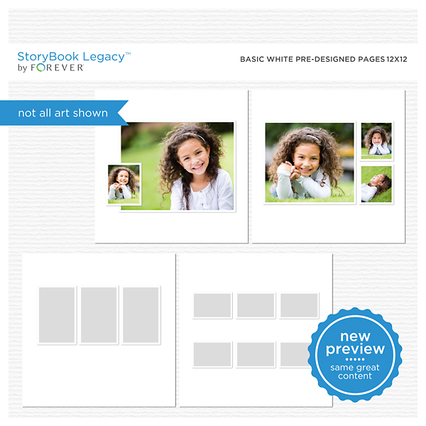Basic White Predesigned Pages 12x12 Digital Art - Digital Scrapbooking Kits