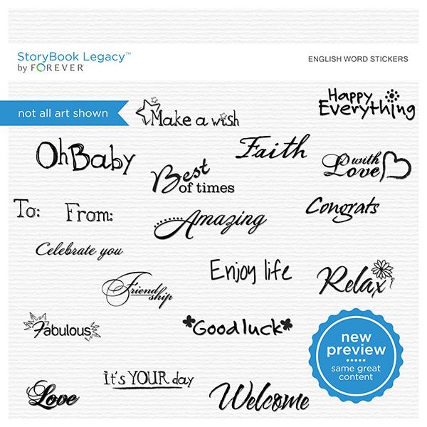English Word Stickers Digital Art - Digital Scrapbooking Kits