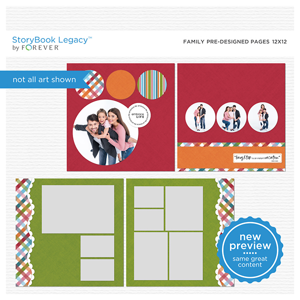 Family Predesigned Pages 12x12 Digital Art - Digital Scrapbooking Kits