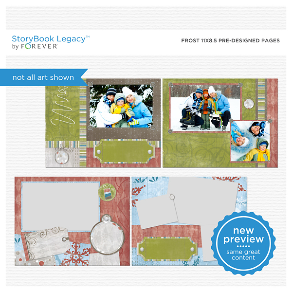 Frost 11x8.5 Predesigned Pages  Digital Art - Digital Scrapbooking Kits