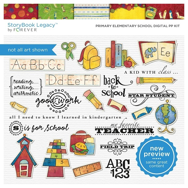 Primary Elementary School Digital PP Kit Digital Art - Digital Scrapbooking Kits