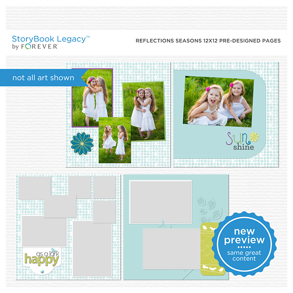 Reflections Seasons 12x12 Predesigned Pages Digital Art - Digital Scrapbooking Kits