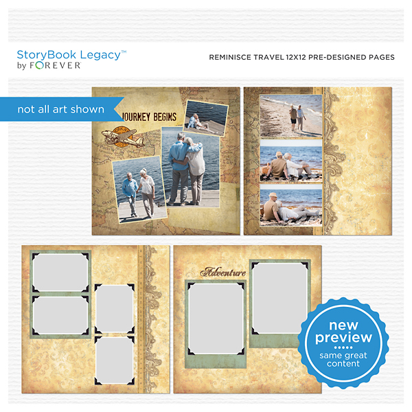 Reminisce Travel 12x12 Predesigned Pages Digital Art - Digital Scrapbooking Kits