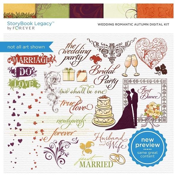 Wedding Romantic Autumn Digital Kit Digital Art - Digital Scrapbooking Kits