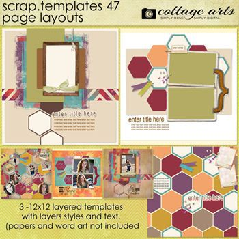 12 X 12 Scrap Templates 47 - Page Layouts Digital Art - Digital Scrapbooking Kits