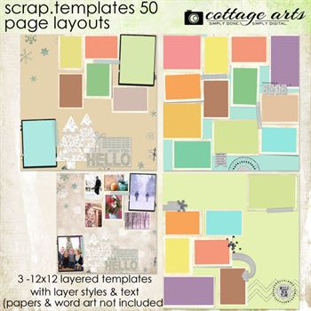 12 X 12 Scrap.templates 50 - Page Layouts Digital Art - Digital Scrapbooking Kits