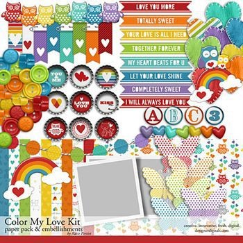 Color My Love Kit Digital Art - Digital Scrapbooking Kits