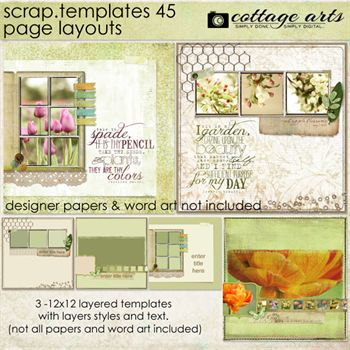 12 X 12 Scrap Templates 45 - Page Layouts Digital Art - Digital Scrapbooking Kits