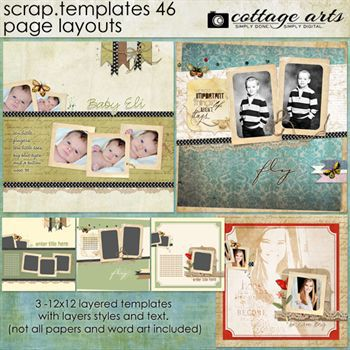 12 X 12 Scrap Templates 46 - Page Layouts Digital Art - Digital Scrapbooking Kits