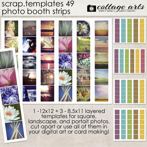 8.5 X 11 Scrap.templates 49 - Photo Booth Strips Digital Art - Digital Scrapbooking Kits
