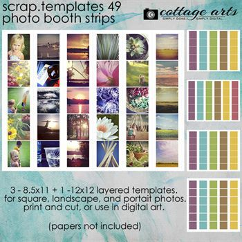 8.5 X 11 Scrap.templates 49 - Photo Booth Strips Digital Art - Digital Scrapbooking Kits