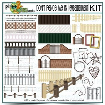 Don't Fence Me In Kit Digital Art - Digital Scrapbooking Kits