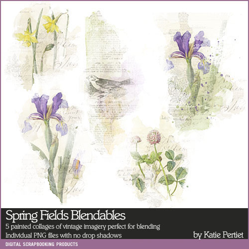 Spring Fields Blendables Digital Art - Digital Scrapbooking Kits
