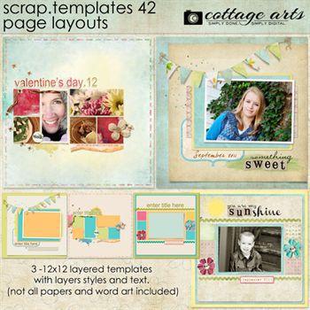 12 X 12 Scrap Templates 42 - Page Layouts Digital Art - Digital Scrapbooking Kits