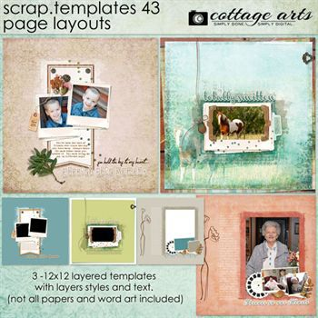 12 X 12 Scrap Templates 43 - Page Layouts Digital Art - Digital Scrapbooking Kits