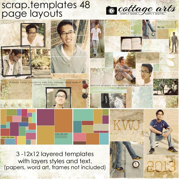 12 X 12 Scrap Templates 48 - Page Layouts Digital Art - Digital Scrapbooking Kits