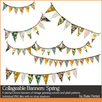 Collageable Banners Spring Digital Art - Digital Scrapbooking Kits