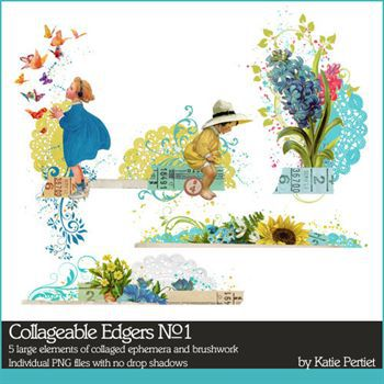 Collageable Edgers No. 01 Digital Art - Digital Scrapbooking Kits