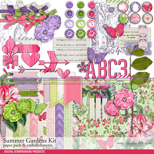 Summer Gardens Scrapbooking Kit Digital Art - Digital Scrapbooking Kits