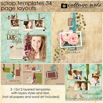 12 X 12 Scrap Templates 34 - Page Layouts Digital Art - Digital Scrapbooking Kits