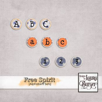 Free Spirit Alphabets Sets Digital Art - Digital Scrapbooking Kits