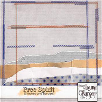 Free Spirit Borders And Stitches Digital Art - Digital Scrapbooking Kits