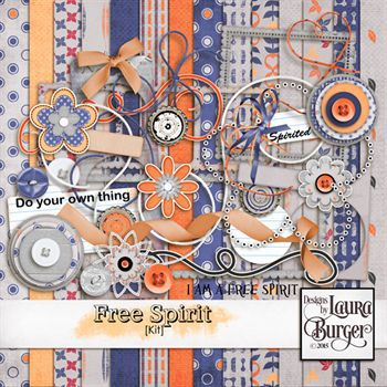 Free Spirit Scrap Kit Digital Art - Digital Scrapbooking Kits