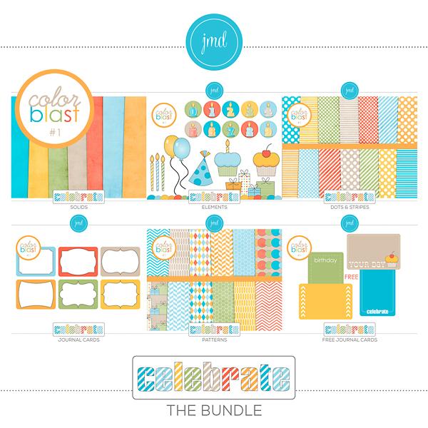 Color Blast 1 - Celebrate Bundle Digital Art - Digital Scrapbooking Kits