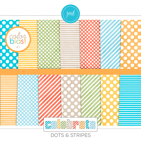 Color Blast 1 - Celebrate Dots And Stripes Digital Art - Digital Scrapbooking Kits