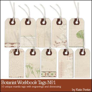 Botanist Workbook Tags No. 01 Digital Art - Digital Scrapbooking Kits
