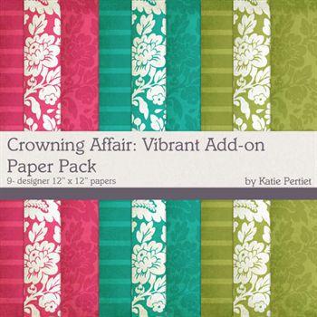 Crowning Affair Vibrant Add-on Paper Pack Digital Art - Digital Scrapbooking Kits