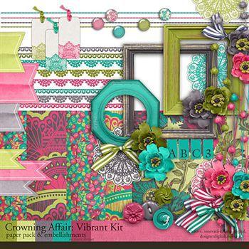Crowning Affair Vibrant Kit Digital Art - Digital Scrapbooking Kits