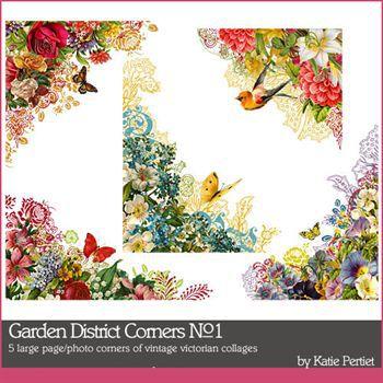 Garden District Corners No. 01 Digital Art - Digital Scrapbooking Kits