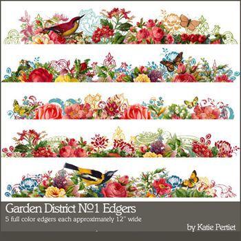 Garden District No. 01 Edgers Digital Art - Digital Scrapbooking Kits