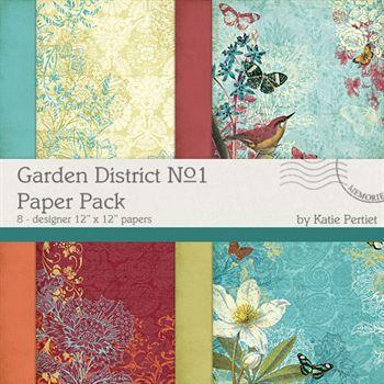 Garden District No. 01 Paper Pack Digital Art - Digital Scrapbooking Kits